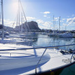 Beautiful marina, sailboats and motorboats — Stock Photo #5505723