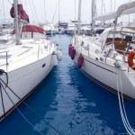 Marina sailboats in Formentera Balearic Islands — Stock Photo #5711303