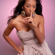 Young African American woman making silence gesture — Stock Photo #7653147