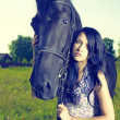 Beautiful young woman and horse — Stock Photo #7615710
