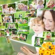 Happy family using tablet PC — Stock Photo #21057939