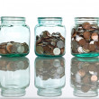 Glass jars with coins - savings concept — Stock Photo #6408610