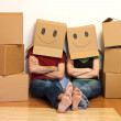 Happy couple in their new home concept — Stock Photo #6405383
