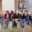 Serious looking group of young punk teens — Stock Photo #40923229