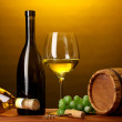 In wine cellar. Composition of wine bottle and runlet — Stock Photo #10598749