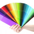 Hand holding bright palette of colors isolated on white — Stock Photo #12326582