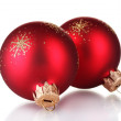 Red christmas balls isolated on white background — Stock Photo #8121488
