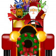 Santa and Reindeer Riding in Vintage Car Isolated — Stock Photo #7833433