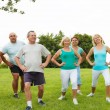 Active Mature People with fitness Trainer — Stock Photo #40393813