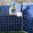 Handsome Man and Solar Panels — Stock Photo #8791797