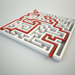 Maze illustration - finding the solution concept — Stock Photo #8021821