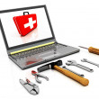 The monitor with the complete set of tools for repair — Stock Photo #9101731