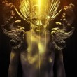 Victory, warrior or ancient god with golden mask and sword great — Stock Photo #32578695