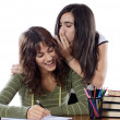 Girls friends whispering while studying — Stock Photo #9498948