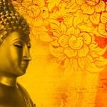 Buddha gold statue on golden background patterns Thailand. — Stock Photo #48651913