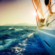 Yacht Sailing against sunset.Sailboat.Sepia toned — Stock Photo #10689039