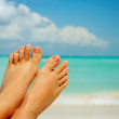Vacation Concept. Woman's Bare Feet over Sea background — Stock Photo #11104120
