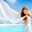Beautiful Girl With White Scarf on The Beach — Stock Photo #11104651