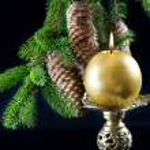 Christmas tree and burning candle — Stock Photo #13406460