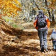 Father and son walking in autumn forest — Stock Photo #12123630