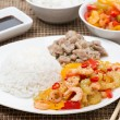 Chinese food - white rice, chicken and vegetables with shrimp — Stock Photo #37631671