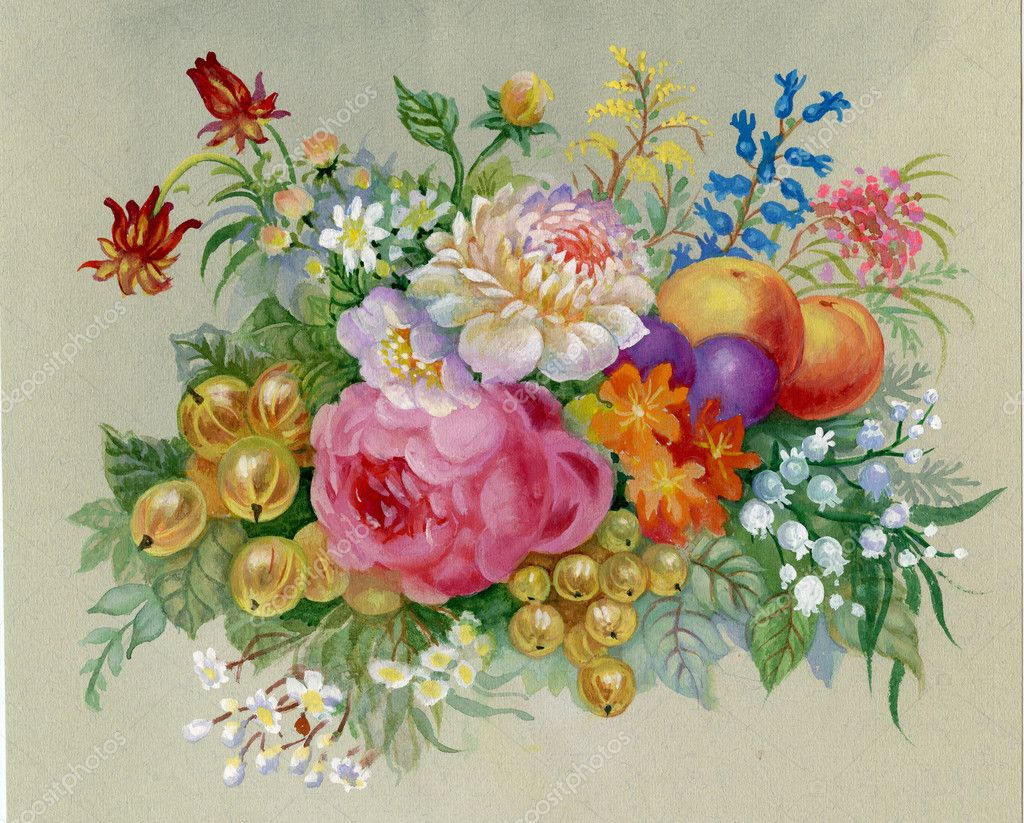 Bella primavera fiori e frutti dipinti in acquerello for Fiori di ciliegio dipinti