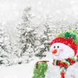 Happy snowman in winter landscape — Stock Photo #19404597