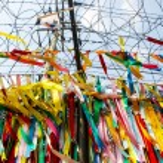 Millions of prayer ribbons, DMZ, Korea — Stock Photo #25471245