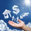 Dreams in the sky: car,home,money and family — Stock Photo #32108539