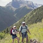 Couple Hiking Trail On Centennial Ridge, Kananaskis Country, Alberta, Canada — Stock Photo #31942223