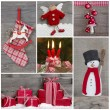 Classic christmas decoration in red and white with snow. Collage — Stock Photo #50996665