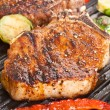 Grilled pork chops with vegetables — Stock Photo #41982417