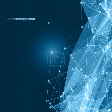 Futuristic Abstract Blue Modern Network Background. Vector Illustration