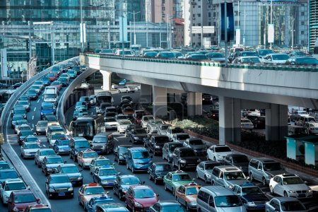Automobile congestion in the morning rush hour