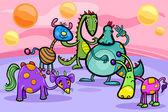 幻想的生物组卡通插图