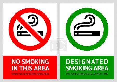 No smoking and Smoking area labels - Set 8