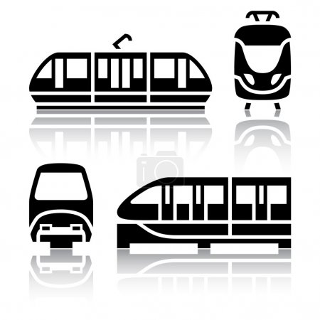 Set of transport icons - Monorail and Tram