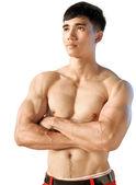 肖像肌肉发达的男性上身