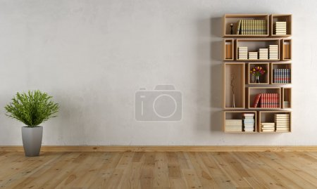 Empty interior with wall bookcase