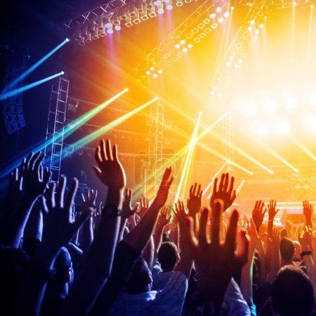 People enjoying rock concert