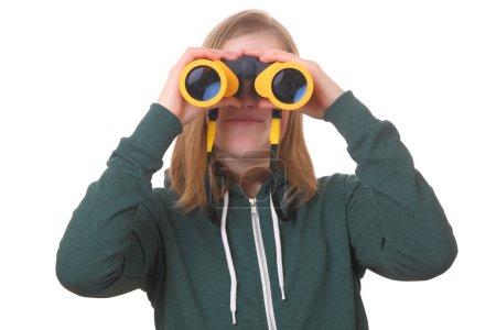 女孩用双筒望远镜_高清图片_邑石网