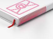 经营理念: 已关闭的书,在白色背景上的电子邮件