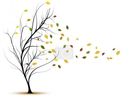 Vector tree in autumn