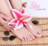 修剪女赤裸的双脚用粉色百合花卉和水疗中心石头在竹凉席。足部护理.