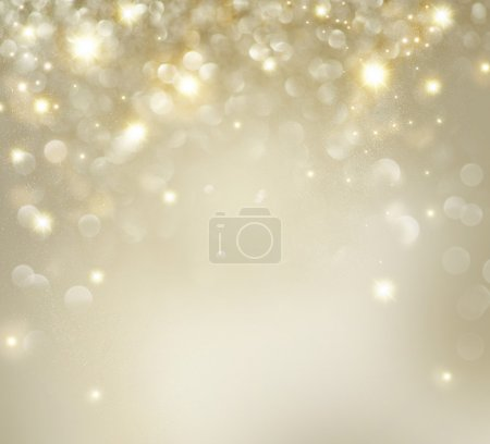 Golden Christmas Holiday Background With Blinking Stars