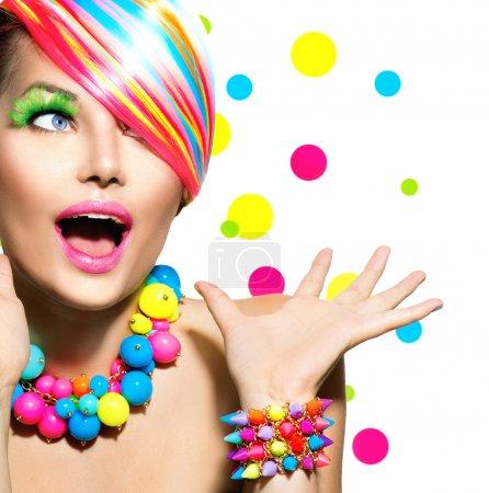 Beauty Portrait with Colorful Makeup