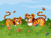 两只老虎在花园里玩