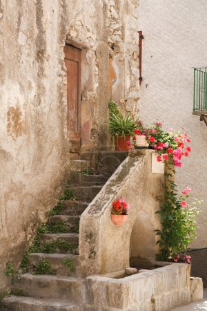 Stone steps to rustic house