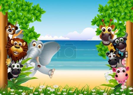 有趣的动物卡通与热带海滩背景