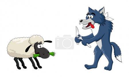 可爱的卡通饿狼和羊的矢量图